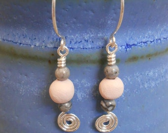 Spiral Drop Earring: sterling silver, crazy lace agate, pottery.