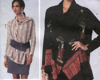 Free Us Ship Vogue 1430 Today's Fit Sandra Betzina Tunic Top Skirt Elastic Waist Plus Size Casual Bust 32-55 Sewing Pattern Out of Print
