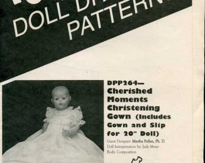 "FREE US SHIP Poissot Doll Dress Pattern Retro 1990's dpp264 Christening Gown 20"" Sewing Pattern Insert From Dollcrafter Vintage Magazine"