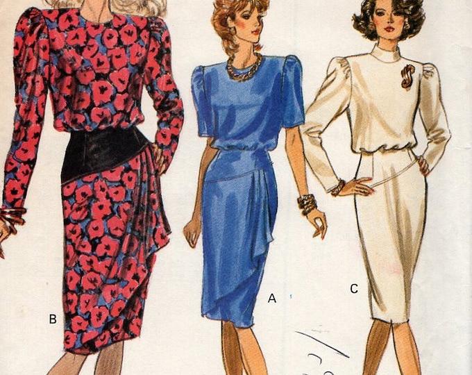 Free Us Ship Sewing Pattern Vogue 7557  Vintage Retro 1980s 80s  Shoulder Pad Bias Skirt Dress Draped Front 8 10 12 Bust 31.5 32.5 34 Uncut