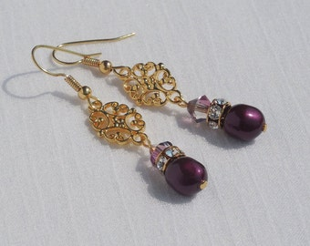 Swarovski crystal and pearl and vermeil drop earrings