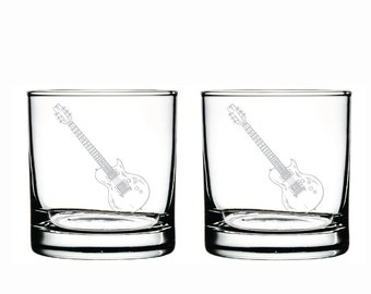 Guitar Glass- Set of 2 -Old Fashioned Glass -Personalized Etched Glasses