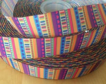 Orange, Pink and Teal Pattern Ribbon - 7/8 Inch Grosgrain Ribbon by the Yard for Hairbows, Scrapbooking, Choose between 1-10 yards