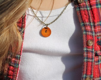 Leather Handstamped Initial Necklace, Custom Personalized Necklace, Western, Southwestern, Boho Women and Girls Jewelry
