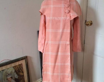 1960s linen plus size matching peach salmon set, show stopper