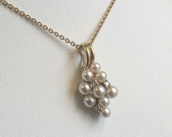 Diamond Pearl Cluster Pendant 14k Yellow Gold