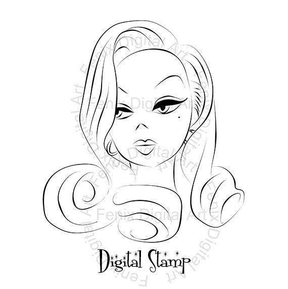 Digital Stamp,Clipart,Line art,Pin up Lady,Girl graphics,Girl portrait,Digi stamp,digistamp,Art Illustration INSTANT DOWNLOAD