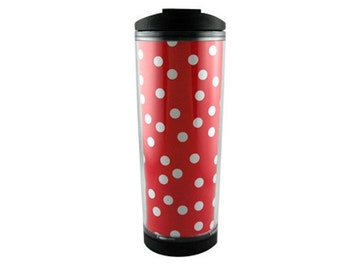 Red polka dot mug