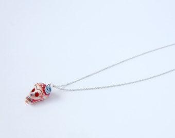 Sugar Skull Necklace, Porcelain Skull Pendant, Red Skull Charm, Calavera Necklace, Dia de los Muertos Jewelry, Unique Gift Idea, Halloween