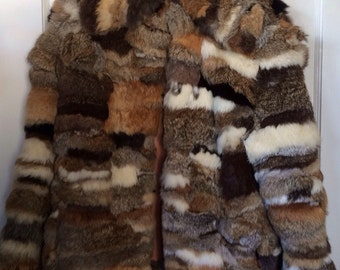 PRICE DROP***Patchwork Rabbit Fur Jacket
