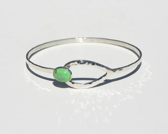 Sterling &  Mohave Green Turquoise Clasp Bracelet