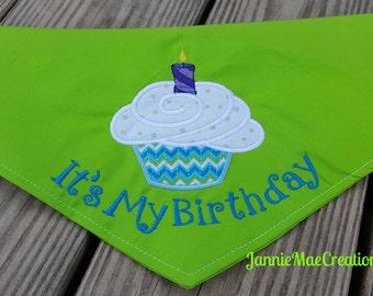 It's My Birthday Appliqued Swirly Cupcake Dog Bandana