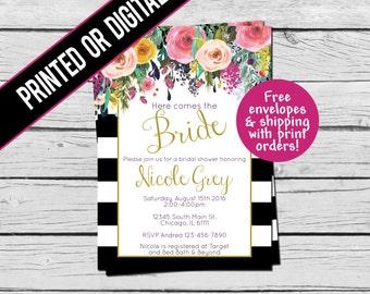 Printed or Digital File - Black & White Striped Floral Bridal Shower Invitation