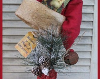 "Primitive cloth doll PATTERN ""Santa Hat Make-do"""