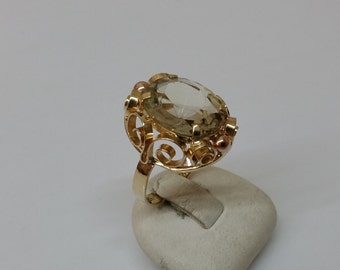 Art Deco ring Yellow-/Rotgold 585 Mountain Crystal GR500