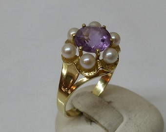 585er gold ring with Amethyst & Pearl GR133