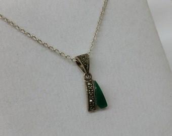 Trailer Silber925 Onyx green Markasiten old