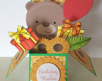 Birthday Summer Bear Pop-up Box Greetings Card