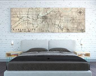 KANSAS CITY MO Canvas Print Missouri Vintage Kansas City Map Mo Horizontal Wall Art Vintage map Panoramic Kansas City print Office Wall Art