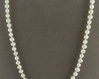 "16"" White Freshwater Pearl & Sterling Silver Beaded Necklace"