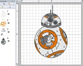 Star Wars BB-8 Droid Embroidery Design in PES +3 formats
