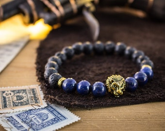 8mm - Blue Lapis Lazuli and black lava stone beaded stretchy bracelet with a gold Lion, beaded bracelet, womens bracelet, mens bracelet