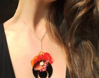 Y Necklace, Lariat Necklace, Acrylic Necklace, Black Perspex Necklace, Red Flower Necklace, Upcycled Jewellery by ENNA