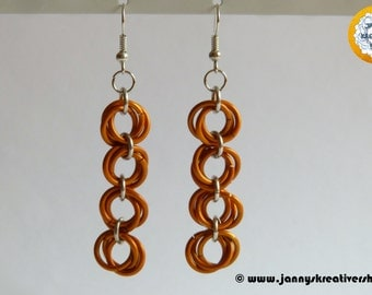 Oblong-shaped earrings, orange - silver color, Chainmaille