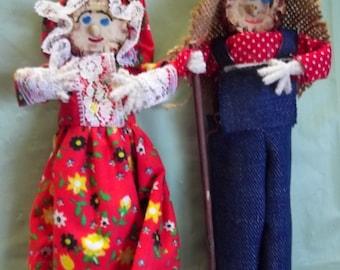 Corn Cob Folk Art People Dolls