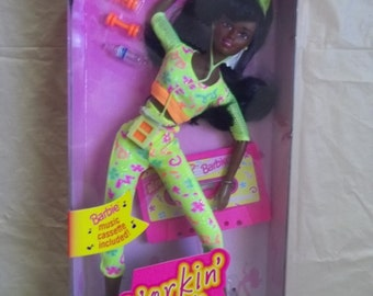 1996 Mattel Workin' Out Christie Doll Suction Cup Shoes Barbie Music Cassette Tape Unopened NIB