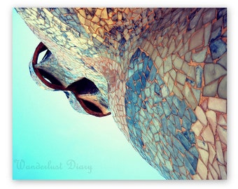 Abstract Architectural Photography, Abstract Wall Art, Modern Barcelona Photography, Gaudi, Spain, Barcelona Print,  Mosaic photograph