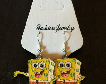 Silver Plated Spongebob Squarepants Earrings