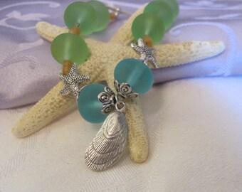 Sea glass, starfish, & shell bracelet