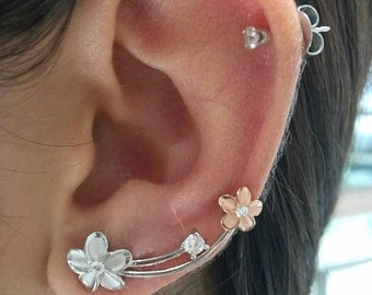 Plumerias earrings climber's.