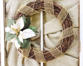 Christmas Grapevine Wreath, White Flower Xmas, Front Door, Floral, Rustic, Country Chic, Simple, Gold White, Winter Wreath, Outdoor, Outside