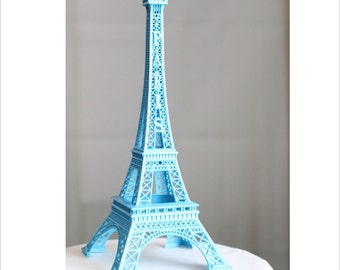 "6""  Blue Paris Eiffel Tower Cake Topper, Madeline, France, Centerpiece, Parisina Decoration, overthetopcaketopper"