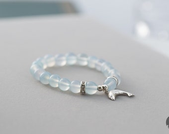 Ice Blue Chalcedony Stretch Bracelet with Sterling Silver Charm, Dolphy Sterling Silver Charm  - for Her, byJTSjewelry