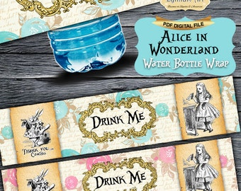 Alice in Wonderland Water Bottle Wraps - Bottle Wrap - Water Bottle Labels - Napkin Rings - Alice in Wonderland Party - Tea Party - Birthday