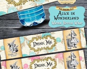 Alice in Wonderland Water Bottle Wraps - Bottle Wrap - Water Bottle Labels - Napkin Rings - Alice in Wonderland Party - Tea Party - Birthday
