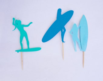 Surfer girl cupcake toppers, set of 12, surfing cupcake toppers, surf cupcakes, surf toppers, surf party, surfing party, surf birthday