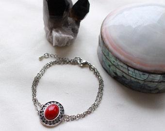Red Faux Stone Chain Bracelet (CSB1)