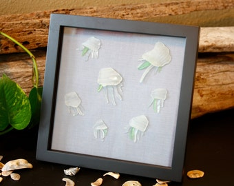 Sea Glass Art - Nautical - Beach House - Jellyfish - Beach House Art - Home Décor - Sea Glass - Beach