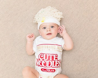 Ramen Baby Outfit, Noodle Baby Outfit, Unique Baby Shower Gift, Premium Quality Bodysuit and Hat