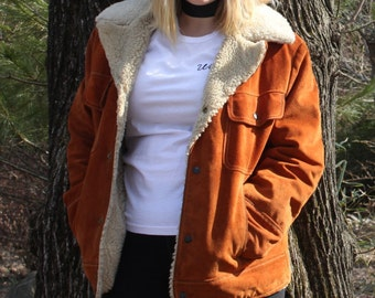 Vintage 80s Real Suede and Sheepskin Coat: rugged, 1980s, hipster, hippie, fur, leather, outerwear