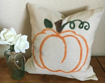 Fall Harvest Pumpkin Pillow | Rustic Pillow Cover | Autumn Farmhouse Pillow | Multiple Sizes Available | Made To Order