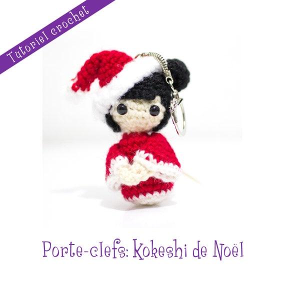 tutoriel crochet kokeshi de no l en porte cl s from leroyaumedesepingles on etsy studio. Black Bedroom Furniture Sets. Home Design Ideas