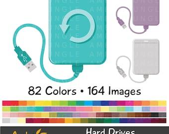 Hard Drive Clipart- External Disk Backup Clip Art- Portable USB HDD SSD Harddisk Computer Graphic Printable Planner Sticker Instant Download