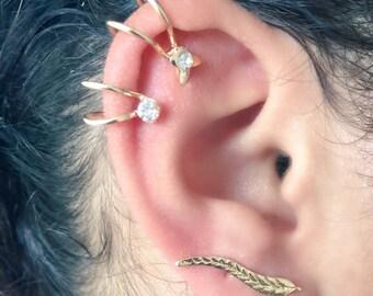 Gold Butterfly Ear Cuff, Heart Ear Cuff, Crystal Ear Cuff, Star Ear Cuff