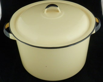 Large Porcelain Enamelware Pot with Lid Yellow Refinished FREE SHIPPING