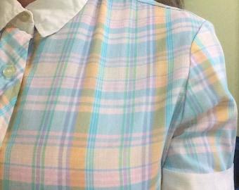 Donnkenny Vintage Ladies Button Up Plaid Shirt